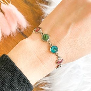 Silver and colored shell disk bracelet